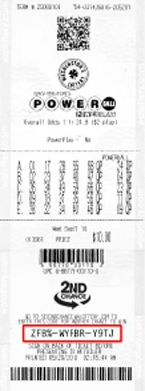 Powerball ticket illustrating webcode placement